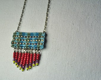 Circuit Necklace with Beaded Fringe in Sage/Red