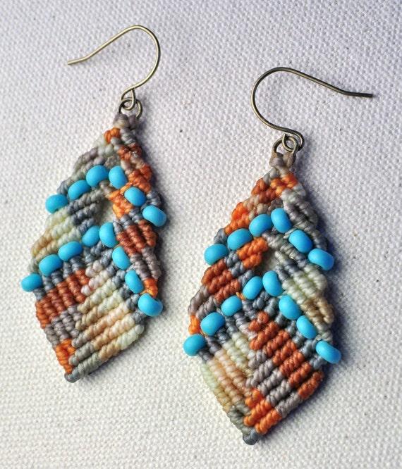 Beaded Buddha Earrings Turquoise and Orange