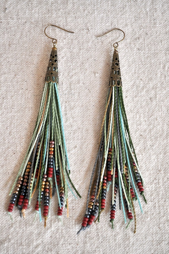 Feather Fringe Earrings Sage Green