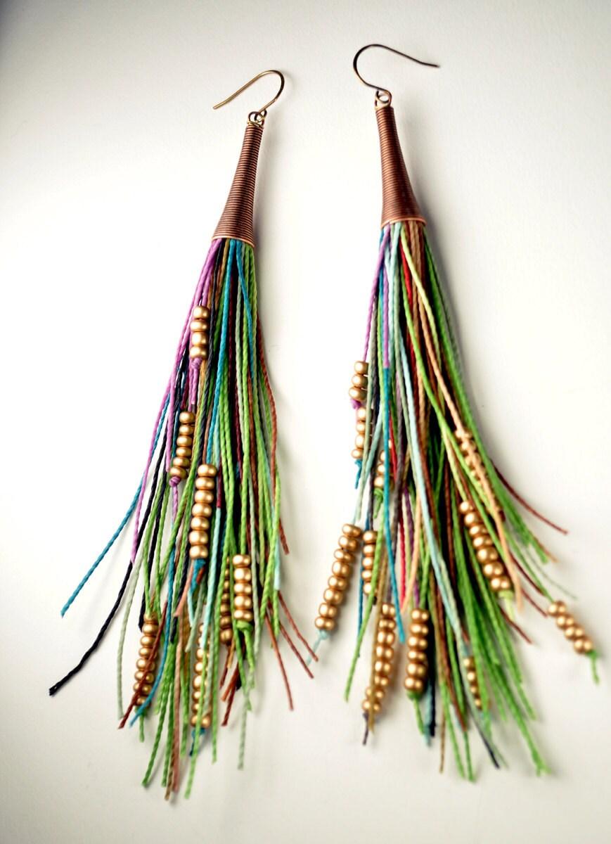 Vegan Feather Fringe Earrings