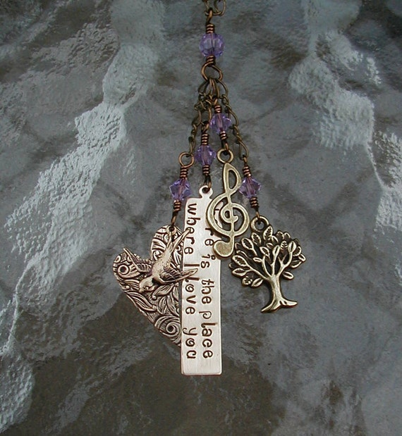 here is the place where I love you - Charm Necklace with Violet Crystals - Rue's Lullaby, The Hunger Games Quote Necklace