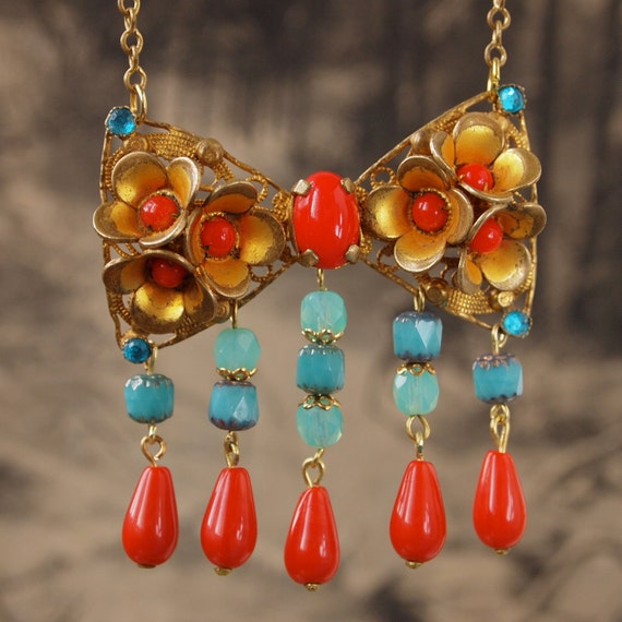 Reserved for Carol-Summer Princess Coral Red and Turquoise Bow Tie Necklace with Beaded Fringe Czech Art Glass Beads Czech Fairy Tales