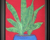 Original Artwork - Botanical Painting - Plant in Blue Pot - 14-1/4 x18-1/4