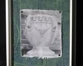 Original Signed Photo Art - Cement Urn Planter - 14-1/2 x 12-1/2