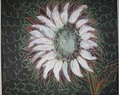 Original Artwork - Mixed Media Painting - Flower on Brown - 14x14