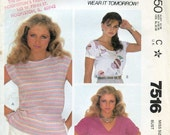 McCall's 7516 Size 14 Bust 36 Misses' Pullover Tops
