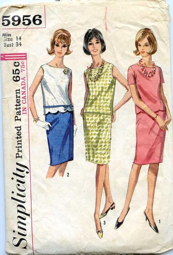 Simplicity 5956 Size 14/Bust 34 Waist 26 Misses' 2 Piece Dress