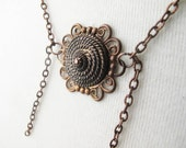 Brown Rope Button Necklace - Antique Brass Standard Length - Only One
