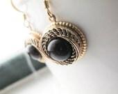 Gold Black Rope Earrings - Short Length - Vintage Buttons - Black Hole