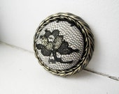 Gold Lace Fabric Brooch - Black Rose