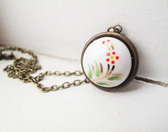 Orange Flower Button Necklace - Antique Brass Standard Length