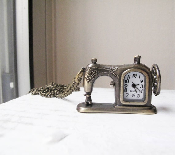 Sewing Machine Clock Necklace in antique brass - extra long - Craft Time