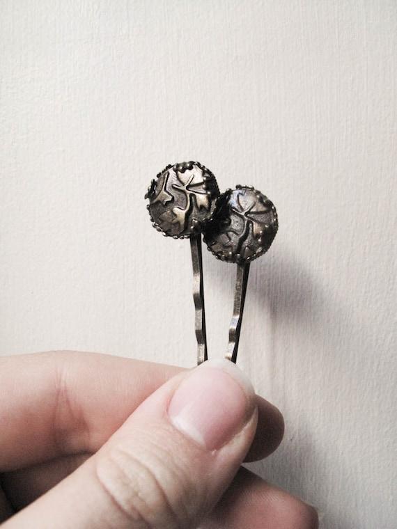 Brown Leaf Ivy Metal Bobby Pins - Set of 2 - Crawling Ivy