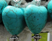 Removable Lobster Clasp Crochet Stitch Markers set of 6 / Stone turquoise hearts