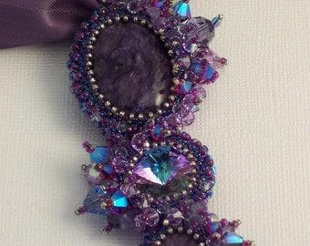 Olympic Peace Medallion Purple Pendant Necklace on Ribbon