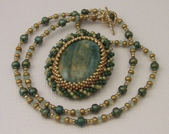 Soft Green Gaspeite Swirl Pendant Beadwoven Necklace