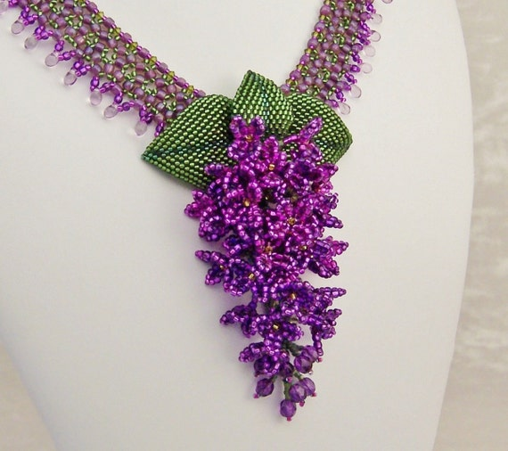RESERVED for KTD Raindrops on Lilacs Beadwork Necklace