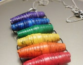 Reduced from 10 - Made to Order - Paper Bead Reiki Charged Rainbow Chakra Balancing Pendant (FREE SHIPPING)