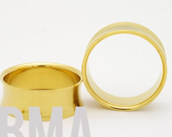 24k Gold Plated Steel Tunnels Plugs 2g (6mm)