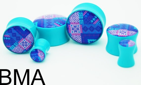 Re-configured Aztec Print BMA Plugs 0g 8mm SINGLE FLARE