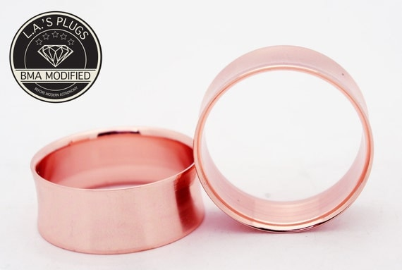 "Rose Gold Steel Tunnels Plugs 5/8"" (16mm)"