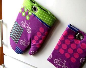 MAGNETIC POT HOLDER The Bike Fridge Magnet Purple Oven Mitt set Etsuko Furuya Fabric Designer