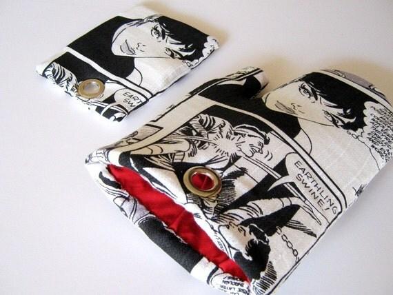 RETRO CARTOON Fridge Magnet set for Comics Fans Black Red White Magnetic Pot Holder and Oven Mitt