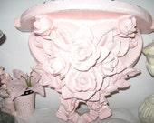 RESERVEHELENEVINTAGE DISTRESSEDPINK ROSES corbel  hp shabby chic shelf/sconce- light pink distressed rose shelf or mantel bookend.