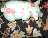 SALE vintage CERAMIC ROSE pig-ceramic shabby chic aqua pink roses pig with pink hoof feet.