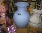 Vintage SKY BLUE-alicja vase handmade in Poland incredible light  French blue shabby or chic cottage home flower display vase.