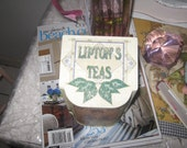 SALE-Lipton Tea tin for your collection or country cottage chic home decor.