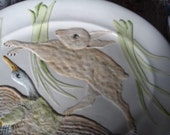 This is not a miniature SALE-VINTAGE Italian(extralarge)-(marked Italy) whimiscal bunnymallard serving platter or for mantel. Easter holiday