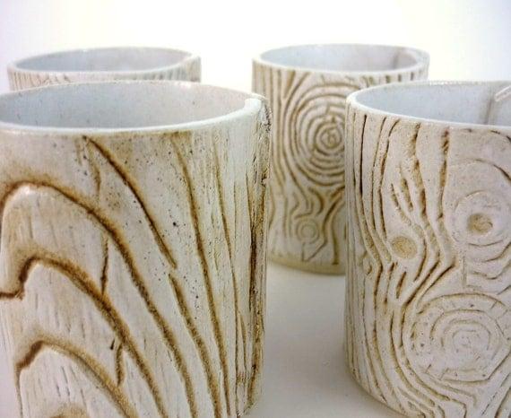 Faux Bois et de la Flamme - Set of 4 ceramic tealight holders