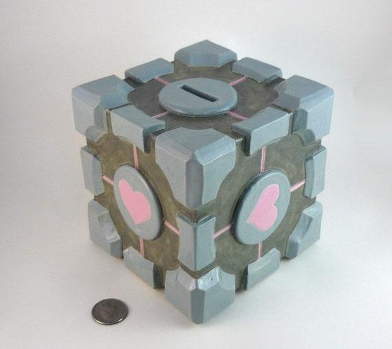 The Companion Cube - Handmade Ceramic Coin Bank