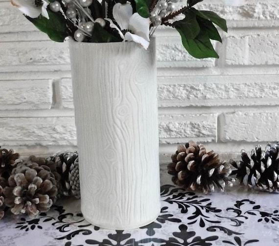 Faux Bois Stoneware Vase in creamy white