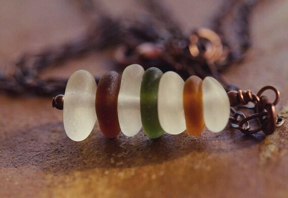 Sale Beach Glass Necklace Autumn Colors Genuine Sea Glass Necklace Copper Fall
