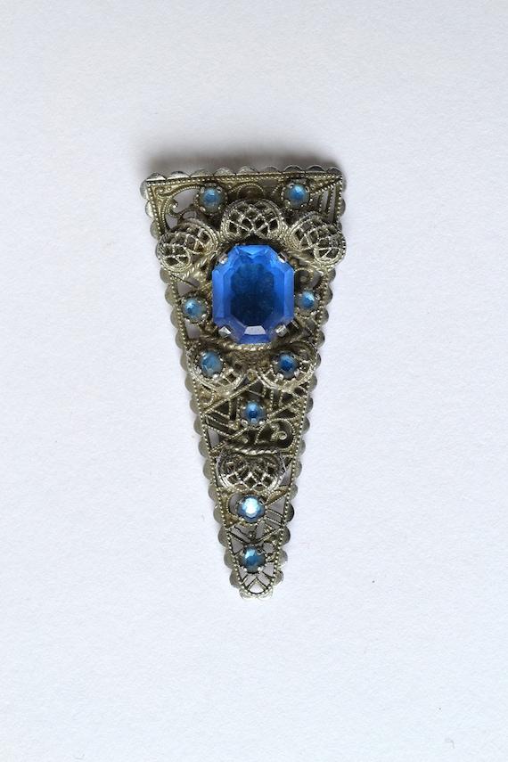 Vintage Filigree Dress Clip with Blue Paste Stones