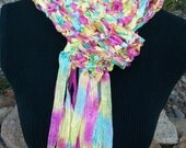 Hand Knit Rainbow Sherbet shiny ribbon scarf in bright mulitcolors with fringe, light and comfortable pink yellow blue