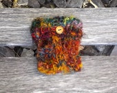 Recycled Sari Silk Coffee or Tea Cup Sleeve-Cozy multicolored with wooden button accent