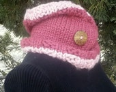 Raspberry Sorbet Neck Warmer Chunky Cowl with wood Accent Button in light and dark pink