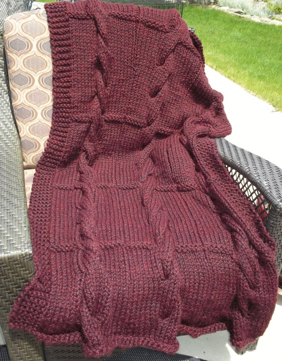 SALE - Chunky Cabled Cranberry Blanket/Throw in burgundy red, hand knit home decor