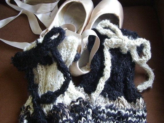 Black and White contrasting Leg Warmers in Banana Silk yarn, thick and warm with top ties and ribbon accent