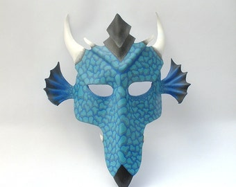 Teal Dragon leather mask