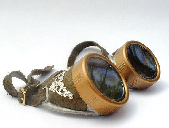 Steampunk Goggles with olive green leather