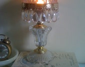 Petite, French  glass crysal lamp with pink shade