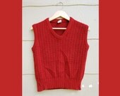 60s Paddle and Saddle Red Knit Vest (S,M,L)