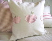 free shipping - 3 apples fall pillow - linen - red ticking stripe - fall home decor - appliqued / apple pillow / apples pillow/