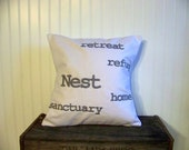 embroidered nest pillow cover- retreat - refuge- home - sanctuary - gray - white canvas - spring home decor