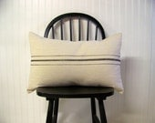 grainsack pillow cover - black stripe - canvas - vintage style - farmhouse - lumbar - rustic - rustic pillow