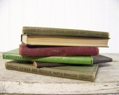 antique book stack - set of 6 - school books - instant collection - books - turn of the century - lot